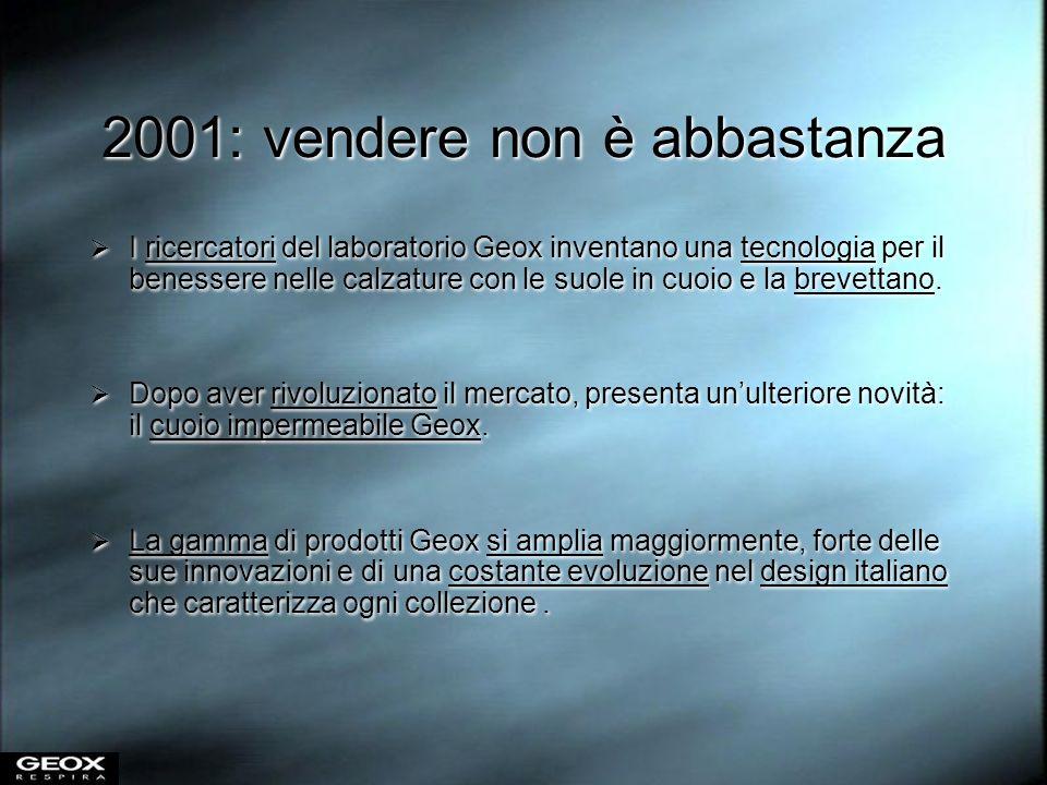 2001: vendere non è abbastanza I ricercatori del laboratorio Geox inventano una tecnologia per il benessere nelle calzature con le suole in cuoio e la
