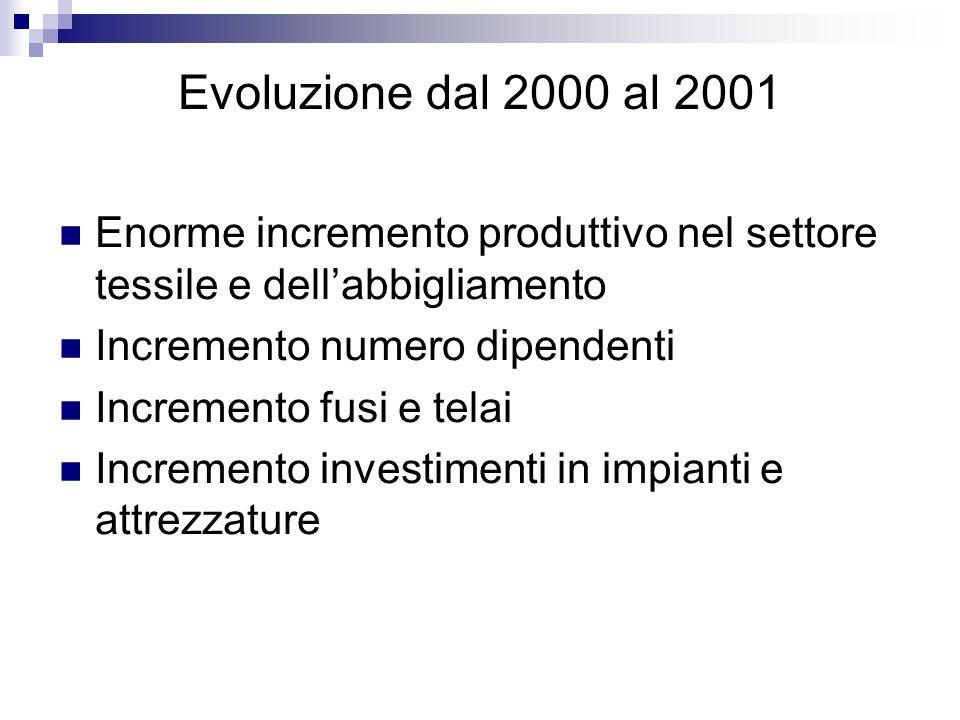 Evoluzione dal 2000 al 2001 Enorme incremento produttivo nel settore tessile e dellabbigliamento Incremento numero dipendenti Incremento fusi e telai
