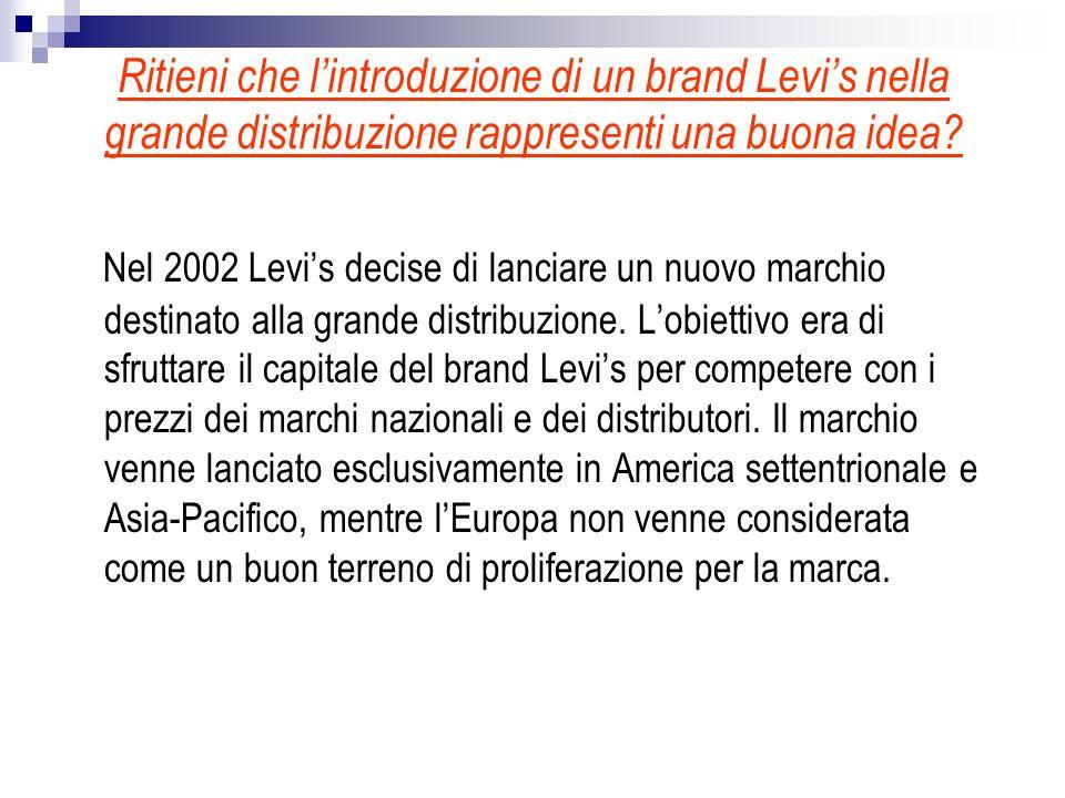 Ritieni che lintroduzione di un brand Levis nella grande distribuzione rappresenti una buona idea? Nel 2002 Levis decise di lanciare un nuovo marchio