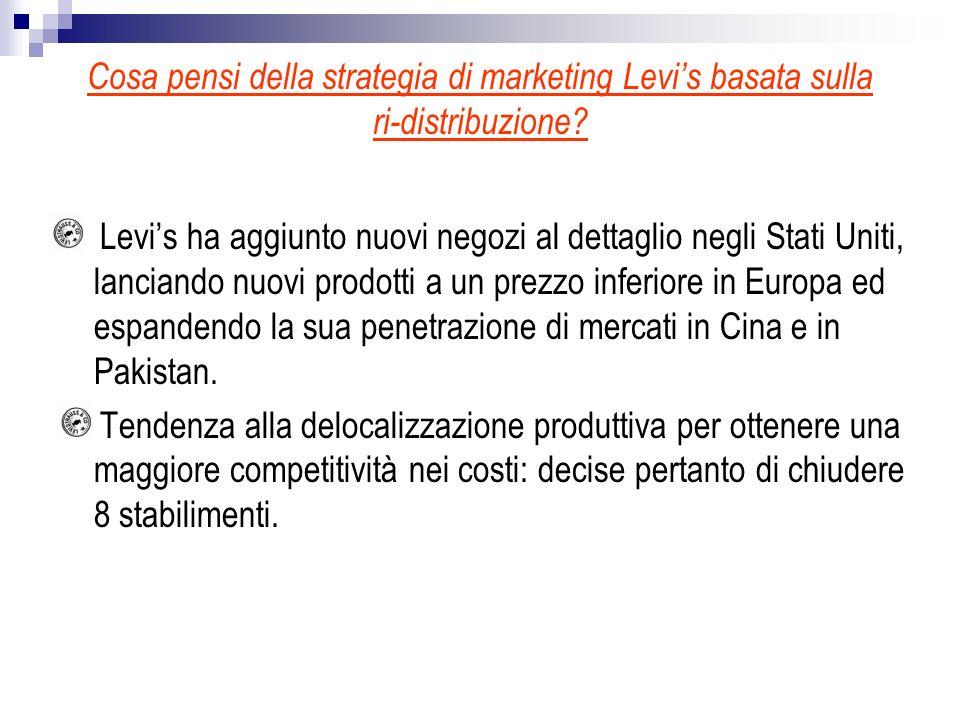 Cosa pensi della strategia di marketing Levis basata sulla ri-distribuzione? Levis ha aggiunto nuovi negozi al dettaglio negli Stati Uniti, lanciando