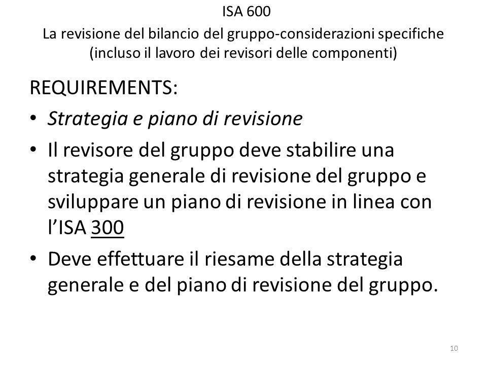 ISA 600 La revisione del bilancio del gruppo-considerazioni specifiche (incluso il lavoro dei revisori delle componenti) REQUIREMENTS: Strategia e piano di revisione Il revisore del gruppo deve stabilire una strategia generale di revisione del gruppo e sviluppare un piano di revisione in linea con lISA 300 Deve effettuare il riesame della strategia generale e del piano di revisione del gruppo.