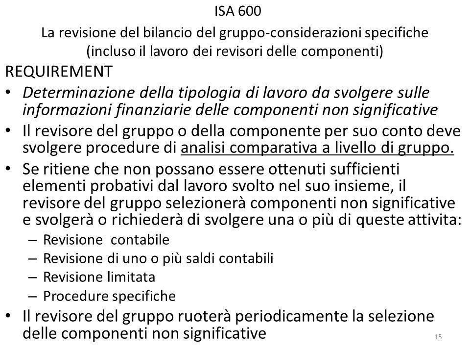 ISA 600 La revisione del bilancio del gruppo-considerazioni specifiche (incluso il lavoro dei revisori delle componenti) REQUIREMENT Determinazione della tipologia di lavoro da svolgere sulle informazioni finanziarie delle componenti non significative Il revisore del gruppo o della componente per suo conto deve svolgere procedure di analisi comparativa a livello di gruppo.