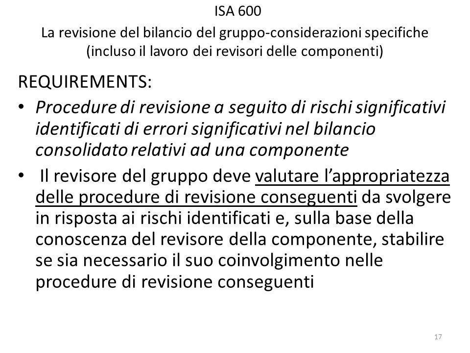 ISA 600 La revisione del bilancio del gruppo-considerazioni specifiche (incluso il lavoro dei revisori delle componenti) REQUIREMENTS: Procedure di revisione a seguito di rischi significativi identificati di errori significativi nel bilancio consolidato relativi ad una componente Il revisore del gruppo deve valutare lappropriatezza delle procedure di revisione conseguenti da svolgere in risposta ai rischi identificati e, sulla base della conoscenza del revisore della componente, stabilire se sia necessario il suo coinvolgimento nelle procedure di revisione conseguenti 17