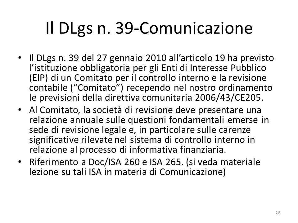 Il DLgs n. 39-Comunicazione Il DLgs n.