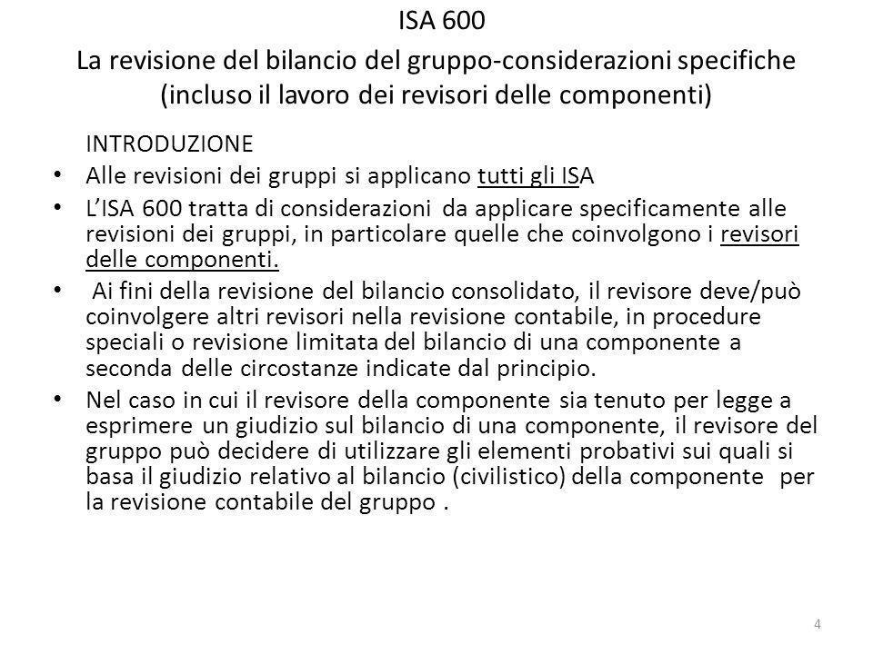 ISA 600 La revisione del bilancio del gruppo-considerazioni specifiche (incluso il lavoro dei revisori delle componenti) INTRODUZIONE Alle revisioni dei gruppi si applicano tutti gli ISA LISA 600 tratta di considerazioni da applicare specificamente alle revisioni dei gruppi, in particolare quelle che coinvolgono i revisori delle componenti.