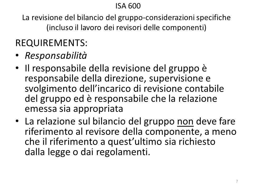 ISA 600 La revisione del bilancio del gruppo-considerazioni specifiche (incluso il lavoro dei revisori delle componenti) REQUIREMENTS: Responsabilità Il responsabile della revisione del gruppo è responsabile della direzione, supervisione e svolgimento dellincarico di revisione contabile del gruppo ed è responsabile che la relazione emessa sia appropriata La relazione sul bilancio del gruppo non deve fare riferimento al revisore della componente, a meno che il riferimento a questultimo sia richiesto dalla legge o dai regolamenti.