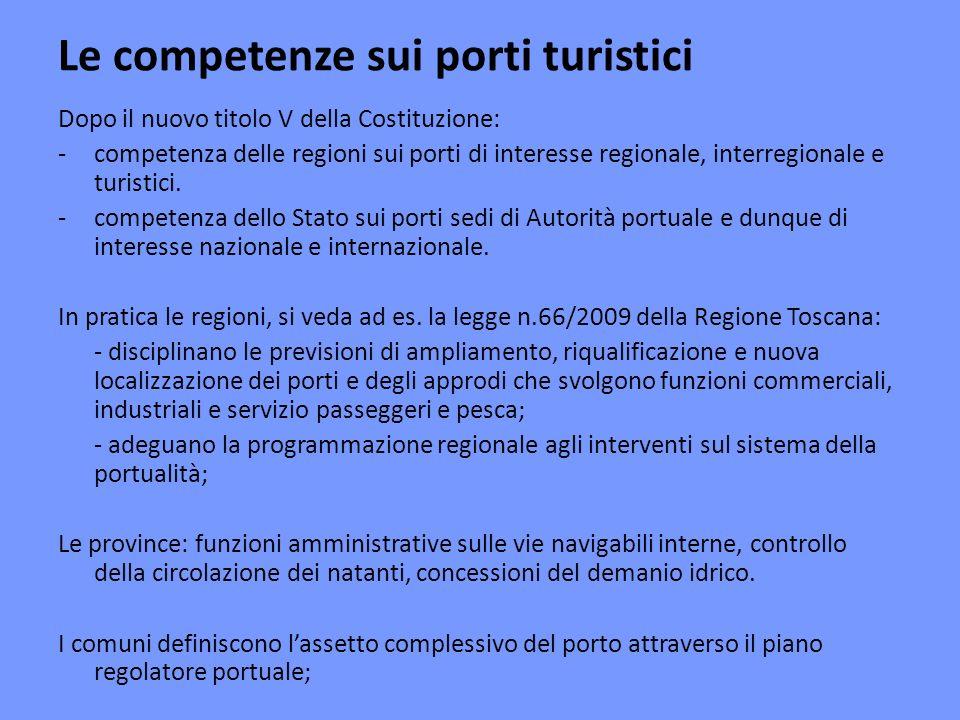 Le competenze sui porti turistici Dopo il nuovo titolo V della Costituzione: -competenza delle regioni sui porti di interesse regionale, interregionale e turistici.