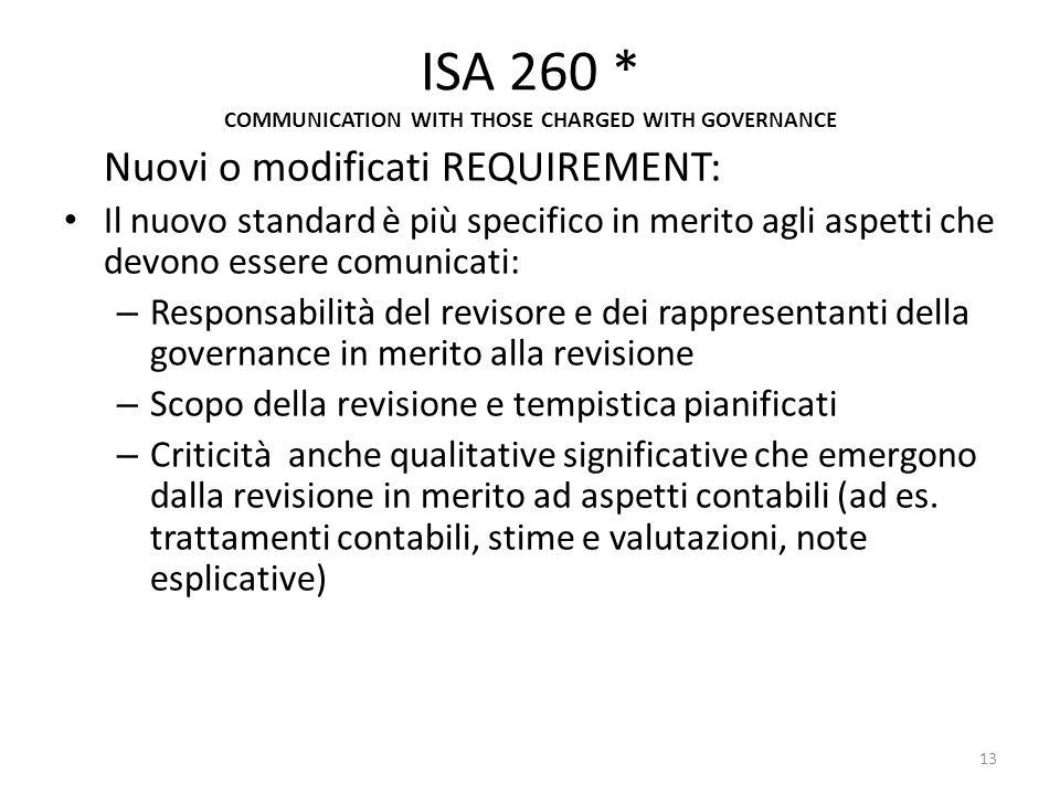 ISA 260 * COMMUNICATION WITH THOSE CHARGED WITH GOVERNANCE Nuovi o modificati REQUIREMENT: Il nuovo standard è più specifico in merito agli aspetti ch