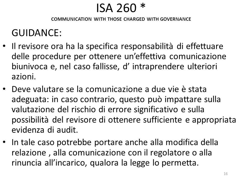 ISA 260 * COMMUNICATION WITH THOSE CHARGED WITH GOVERNANCE GUIDANCE: Il revisore ora ha la specifica responsabilità di effettuare delle procedure per