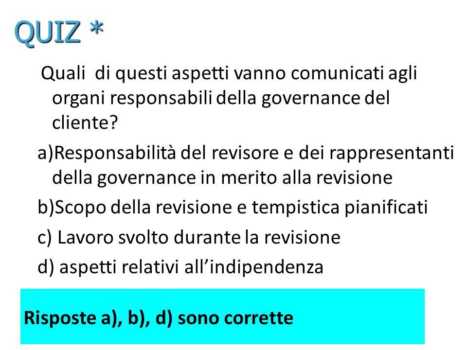 17 Quali di questi aspetti vanno comunicati agli organi responsabili della governance del cliente? a)Responsabilità del revisore e dei rappresentanti