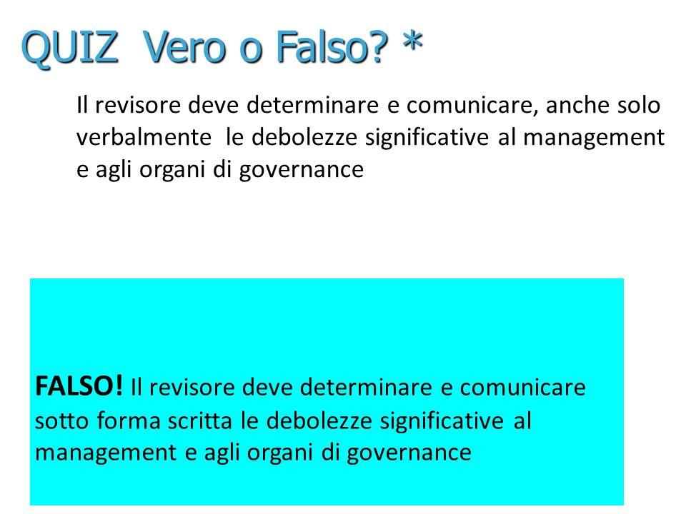 25 Il revisore deve determinare e comunicare, anche solo verbalmente le debolezze significative al management e agli organi di governance FALSO! Il re