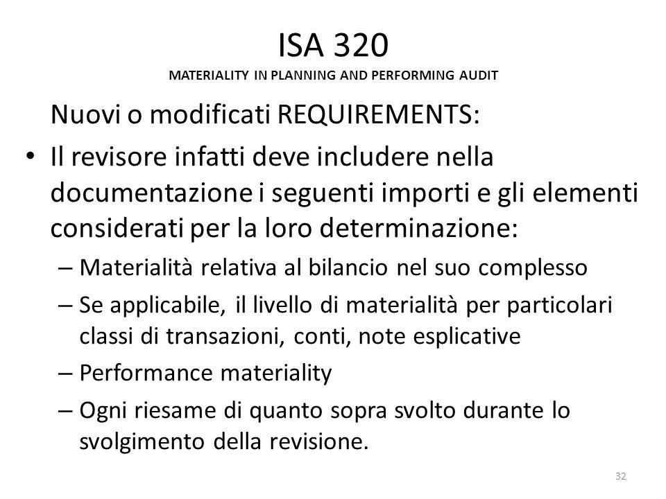 ISA 320 MATERIALITY IN PLANNING AND PERFORMING AUDIT Nuovi o modificati REQUIREMENTS: Il revisore infatti deve includere nella documentazione i seguen