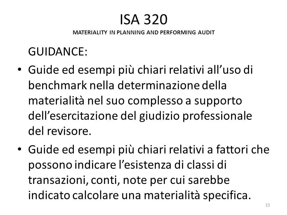 ISA 320 MATERIALITY IN PLANNING AND PERFORMING AUDIT GUIDANCE: Guide ed esempi più chiari relativi alluso di benchmark nella determinazione della mate
