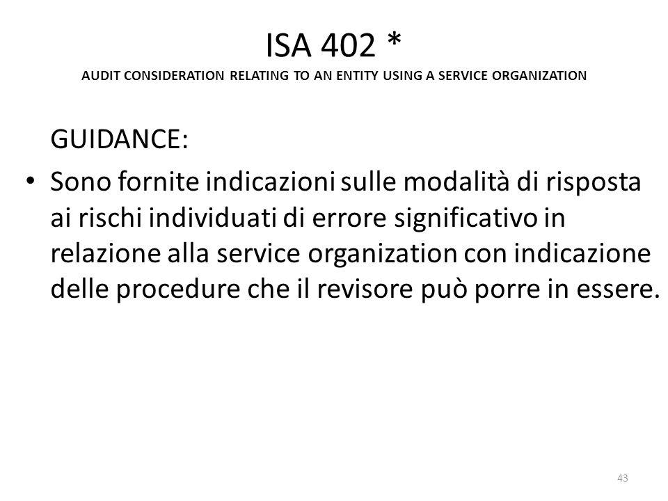 ISA 402 * AUDIT CONSIDERATION RELATING TO AN ENTITY USING A SERVICE ORGANIZATION GUIDANCE: Sono fornite indicazioni sulle modalità di risposta ai risc