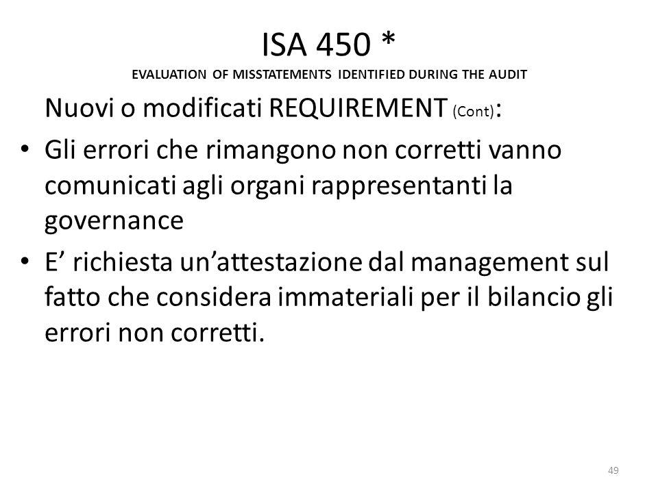 ISA 450 * EVALUATION OF MISSTATEMENTS IDENTIFIED DURING THE AUDIT Nuovi o modificati REQUIREMENT (Cont) : Gli errori che rimangono non corretti vanno
