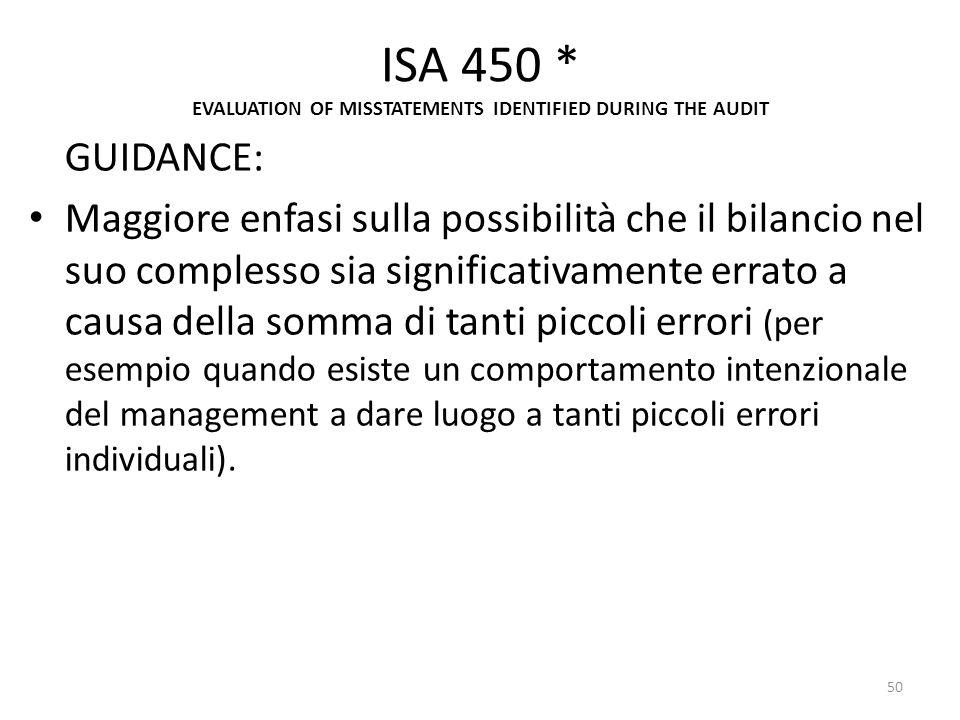ISA 450 * EVALUATION OF MISSTATEMENTS IDENTIFIED DURING THE AUDIT GUIDANCE: Maggiore enfasi sulla possibilità che il bilancio nel suo complesso sia si