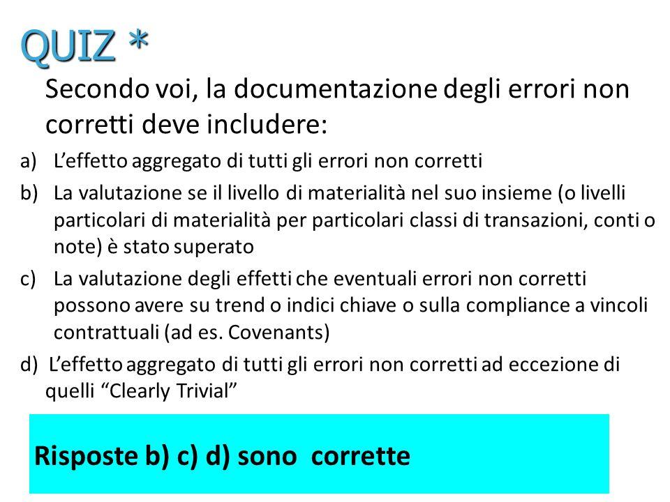 53 Secondo voi, la documentazione degli errori non corretti deve includere: a)Leffetto aggregato di tutti gli errori non corretti b)La valutazione se