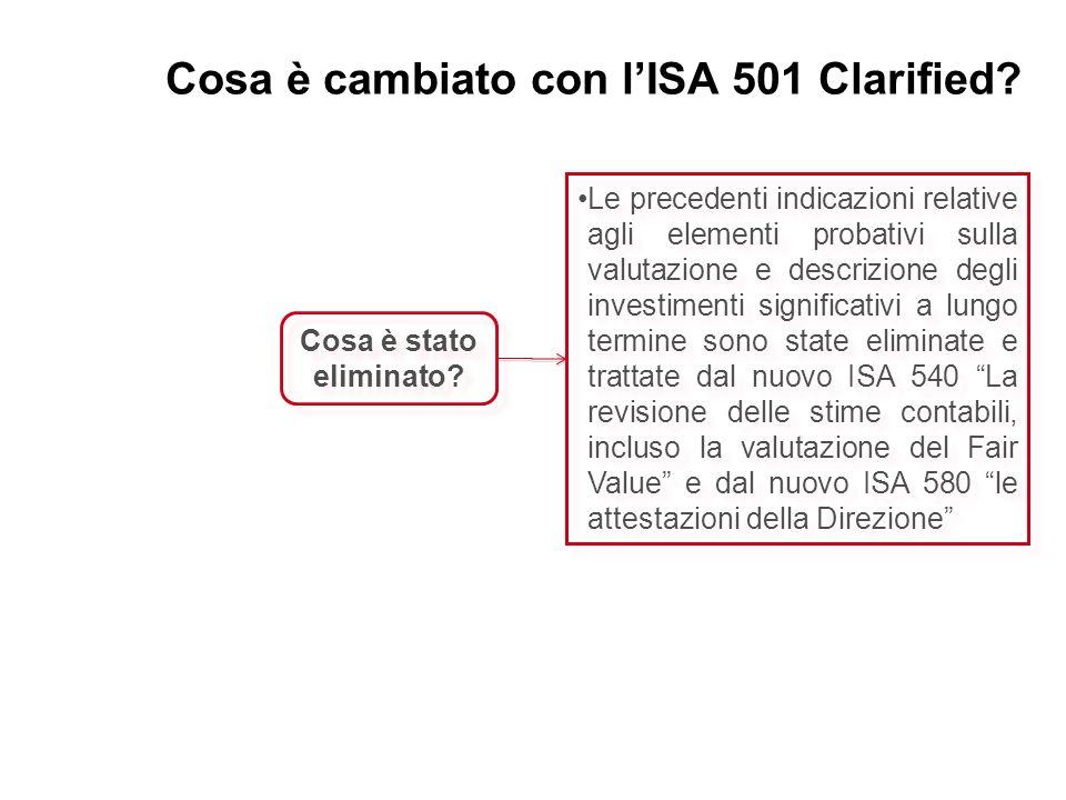 Cosa è cambiato con lISA 501 Clarified? Cosa è stato eliminato? Le precedenti indicazioni relative agli elementi probativi sulla valutazione e descriz