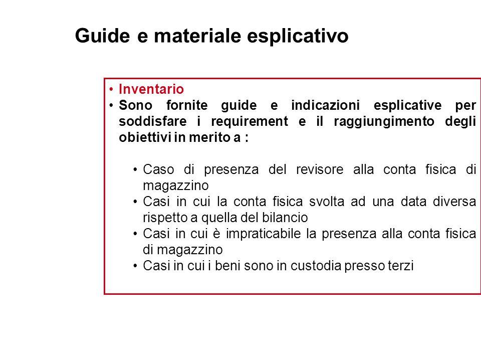 Guide e materiale esplicativo Inventario Sono fornite guide e indicazioni esplicative per soddisfare i requirement e il raggiungimento degli obiettivi