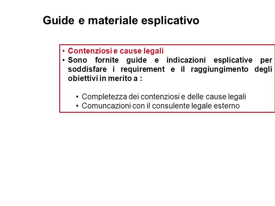 Guide e materiale esplicativo Contenziosi e cause legali Sono fornite guide e indicazioni esplicative per soddisfare i requirement e il raggiungimento