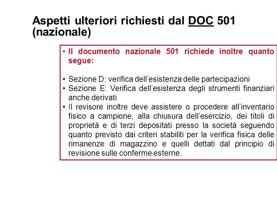 Aspetti ulteriori richiesti dal DOC 501 (nazionale) Il documento nazionale 501 richiede inoltre quanto segue: Sezione D: verifica dellesistenza delle