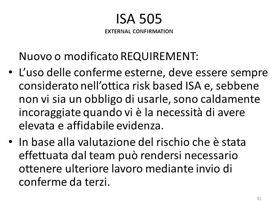ISA 505 EXTERNAL CONFIRMATION Nuovo o modificato REQUIREMENT: Luso delle conferme esterne, deve essere sempre considerato nellottica risk based ISA e,