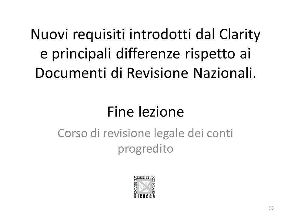 Nuovi requisiti introdotti dal Clarity e principali differenze rispetto ai Documenti di Revisione Nazionali. Fine lezione Corso di revisione legale de