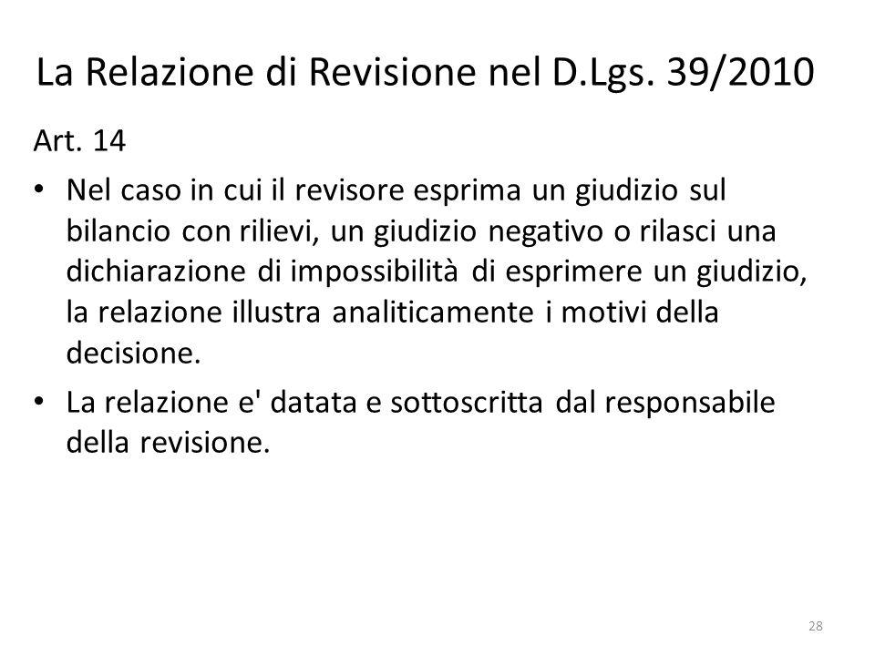 La Relazione di Revisione nel D.Lgs. 39/2010 Art. 14 Nel caso in cui il revisore esprima un giudizio sul bilancio con rilievi, un giudizio negativo o