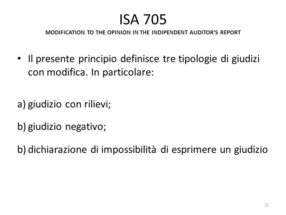 ISA 705 MODIFICATION TO THE OPINION IN THE INDIPENDENT AUDITORS REPORT Il presente principio definisce tre tipologie di giudizi con modifica. In parti