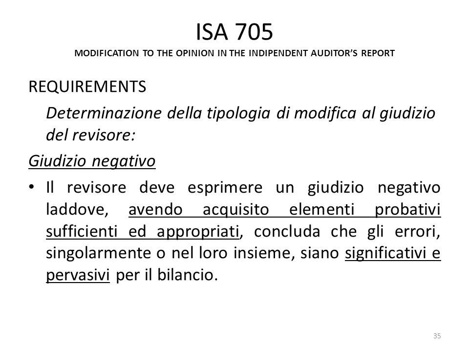 ISA 705 MODIFICATION TO THE OPINION IN THE INDIPENDENT AUDITORS REPORT REQUIREMENTS Determinazione della tipologia di modifica al giudizio del revisor