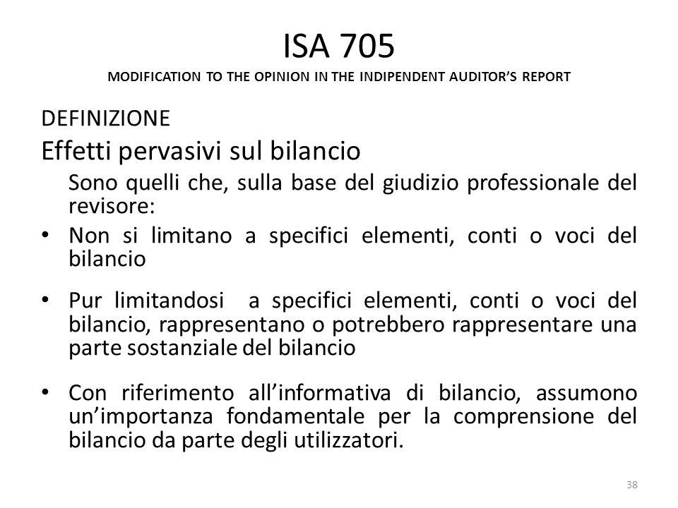 ISA 705 MODIFICATION TO THE OPINION IN THE INDIPENDENT AUDITORS REPORT DEFINIZIONE Effetti pervasivi sul bilancio Sono quelli che, sulla base del giud