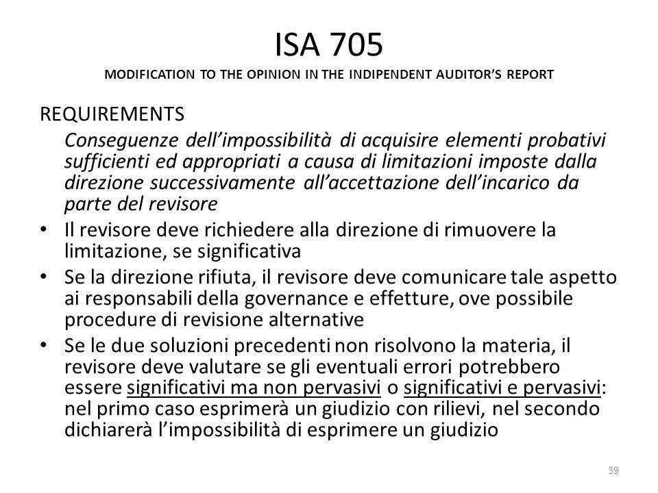 ISA 705 MODIFICATION TO THE OPINION IN THE INDIPENDENT AUDITORS REPORT REQUIREMENTS Conseguenze dellimpossibilità di acquisire elementi probativi suff