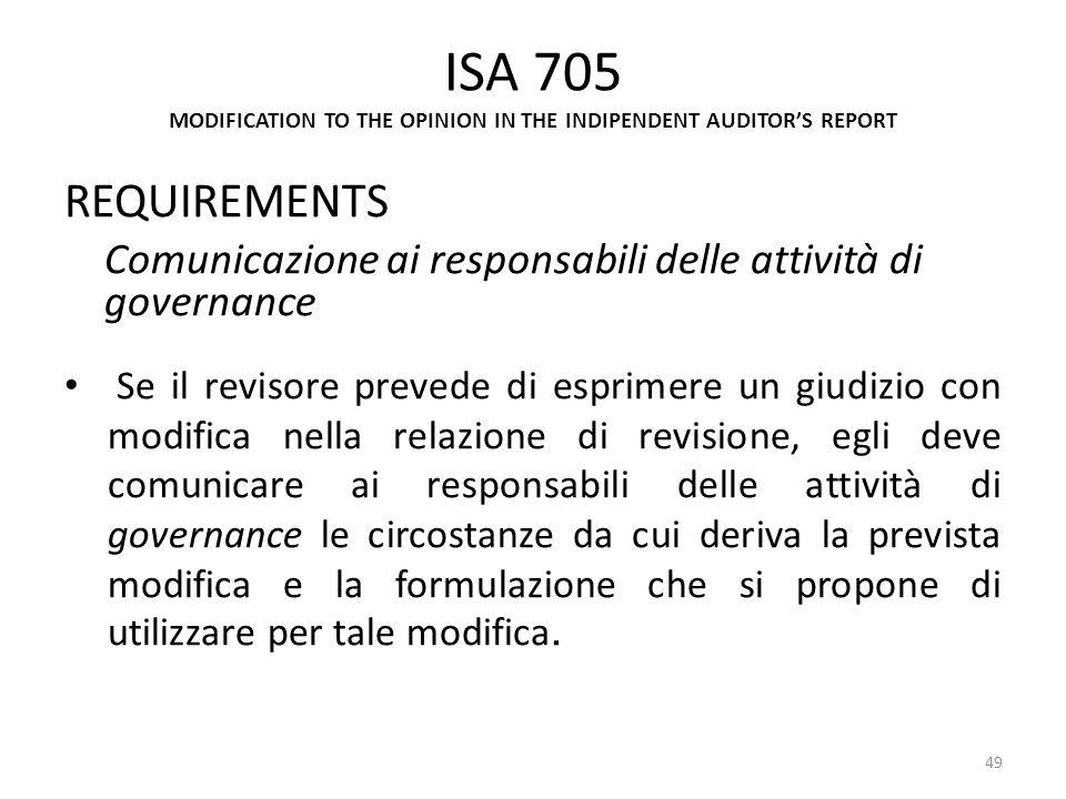 ISA 705 MODIFICATION TO THE OPINION IN THE INDIPENDENT AUDITORS REPORT REQUIREMENTS Comunicazione ai responsabili delle attività di governance Se il r