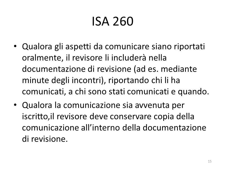 ISA 260 Qualora gli aspetti da comunicare siano riportati oralmente, il revisore li includerà nella documentazione di revisione (ad es. mediante minut