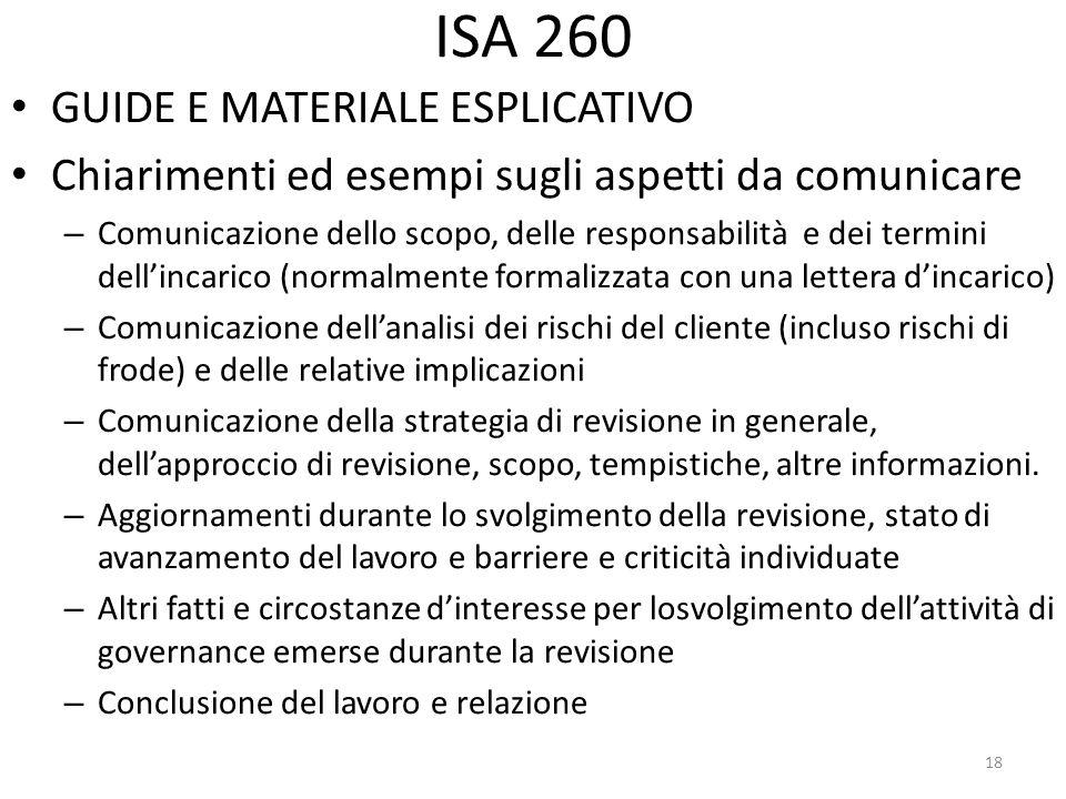 ISA 260 GUIDE E MATERIALE ESPLICATIVO Chiarimenti ed esempi sugli aspetti da comunicare – Comunicazione dello scopo, delle responsabilità e dei termin