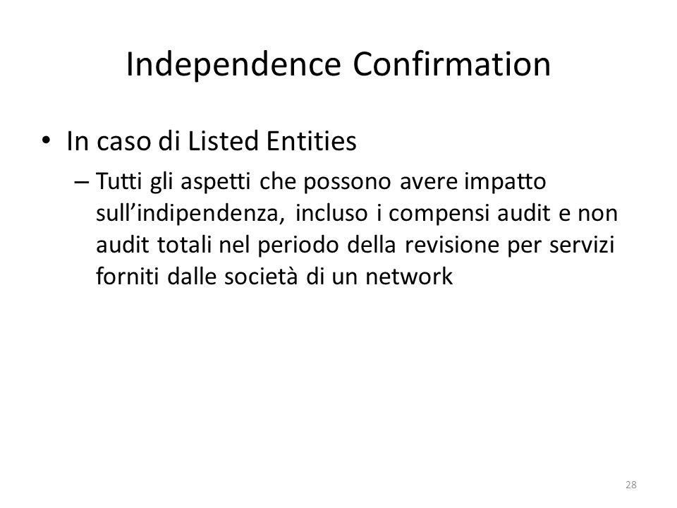 Independence Confirmation In caso di Listed Entities – Tutti gli aspetti che possono avere impatto sullindipendenza, incluso i compensi audit e non au