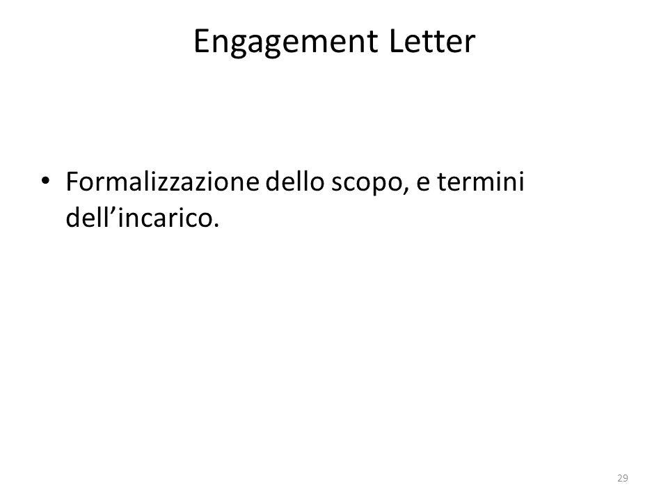 Engagement Letter Formalizzazione dello scopo, e termini dellincarico. 29