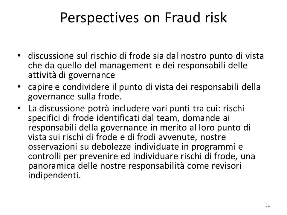 Perspectives on Fraud risk discussione sul rischio di frode sia dal nostro punto di vista che da quello del management e dei responsabili delle attivi