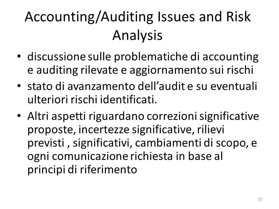 Accounting/Auditing Issues and Risk Analysis discussione sulle problematiche di accounting e auditing rilevate e aggiornamento sui rischi stato di ava