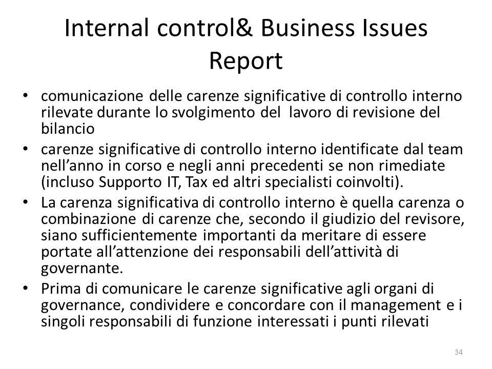 Internal control& Business Issues Report comunicazione delle carenze significative di controllo interno rilevate durante lo svolgimento del lavoro di