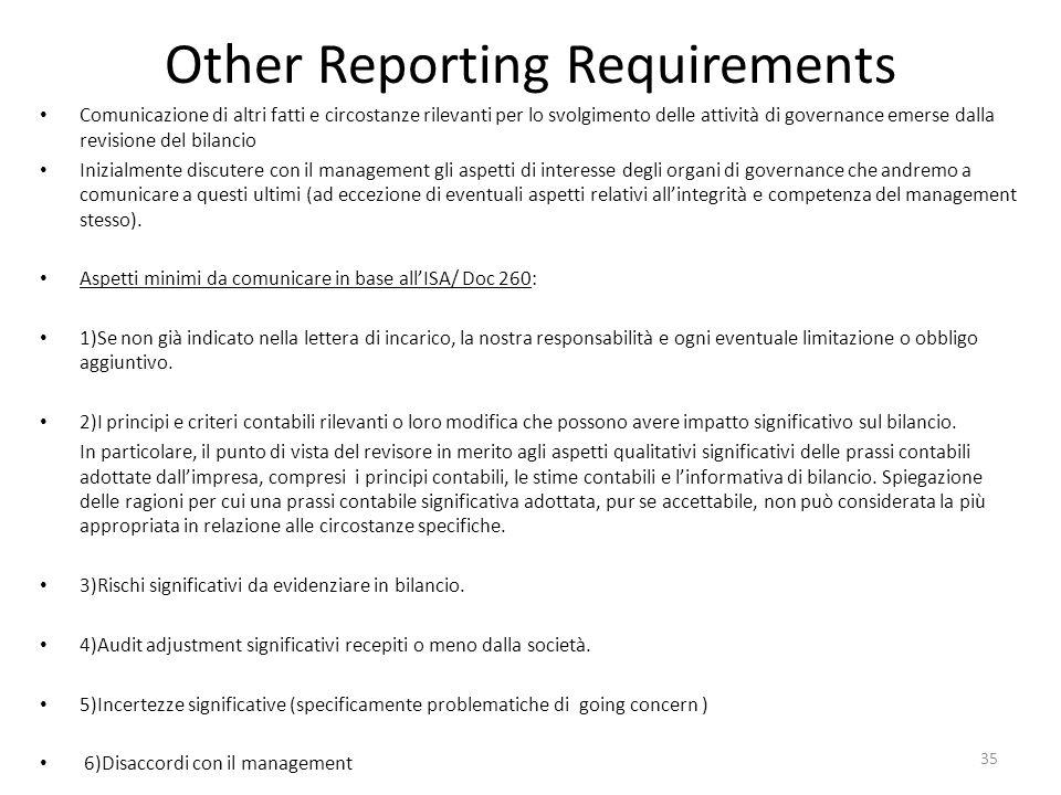 Other Reporting Requirements Comunicazione di altri fatti e circostanze rilevanti per lo svolgimento delle attività di governance emerse dalla revisio