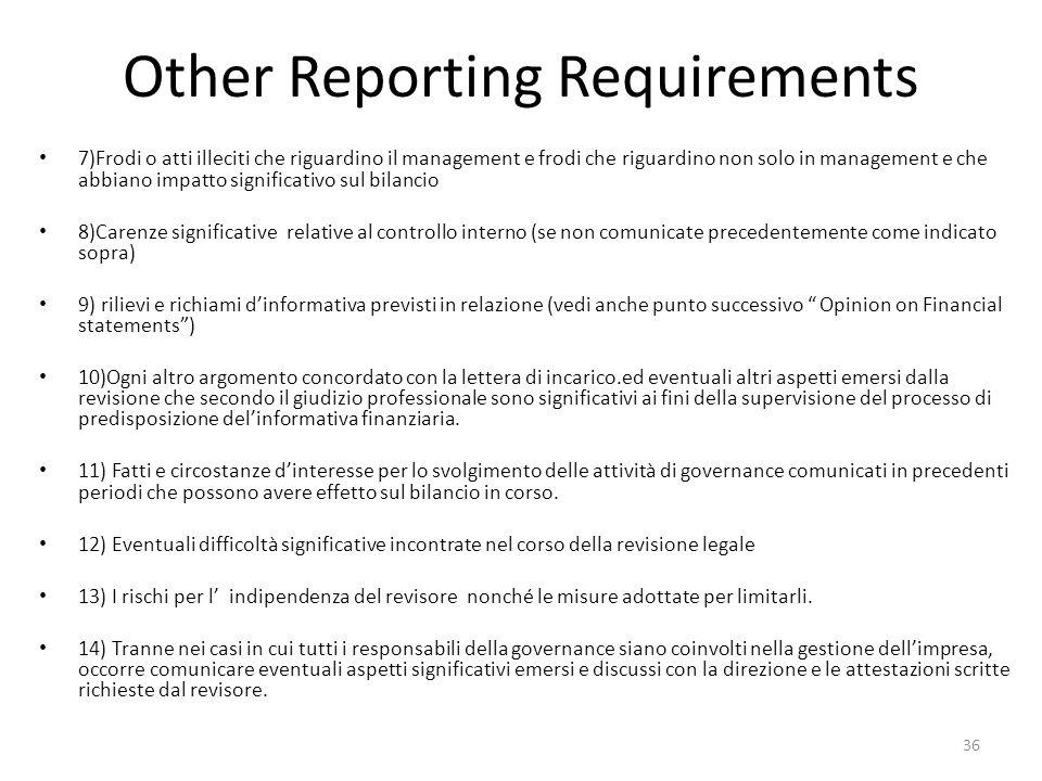 Other Reporting Requirements 7)Frodi o atti illeciti che riguardino il management e frodi che riguardino non solo in management e che abbiano impatto