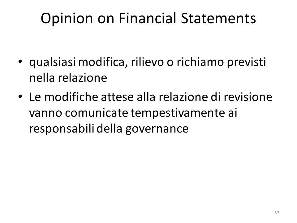 Opinion on Financial Statements qualsiasi modifica, rilievo o richiamo previsti nella relazione Le modifiche attese alla relazione di revisione vanno