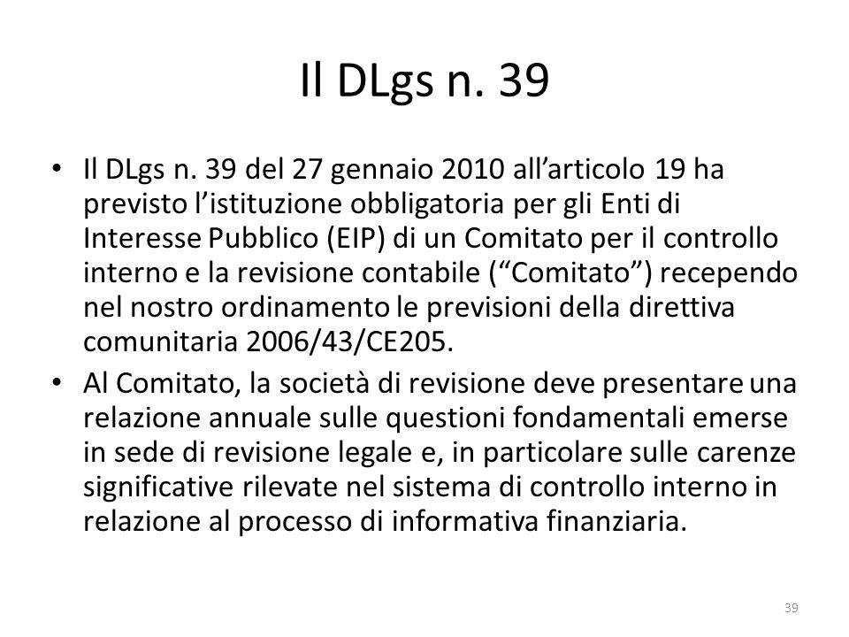 Il DLgs n. 39 Il DLgs n. 39 del 27 gennaio 2010 allarticolo 19 ha previsto listituzione obbligatoria per gli Enti di Interesse Pubblico (EIP) di un Co