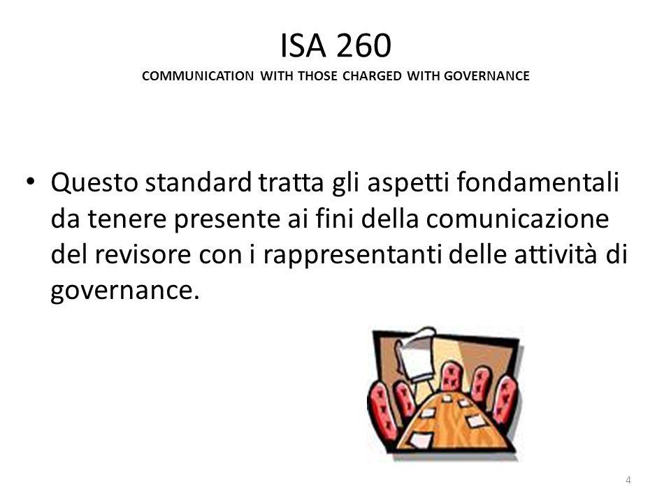 ISA 265 Questo standard tratta le responsabilità del revisore e gli aspetti da tenere presente ai fini della comunicazione al management e agli organi di governance delle debolezze di controllo interno rilevate durante lattività di revisione del bilancio.