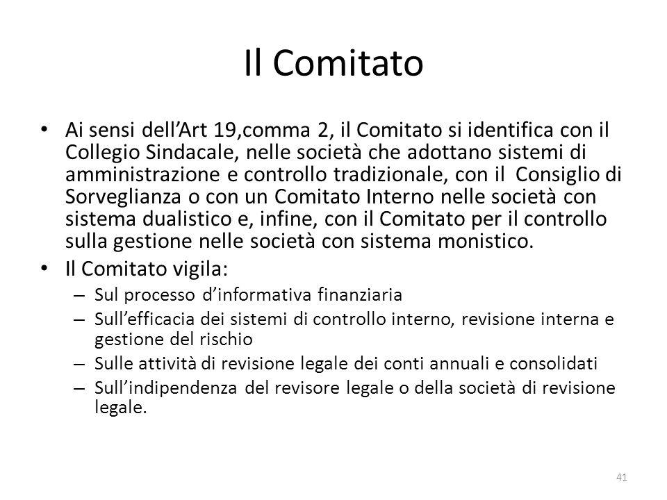 Il Comitato Ai sensi dellArt 19,comma 2, il Comitato si identifica con il Collegio Sindacale, nelle società che adottano sistemi di amministrazione e