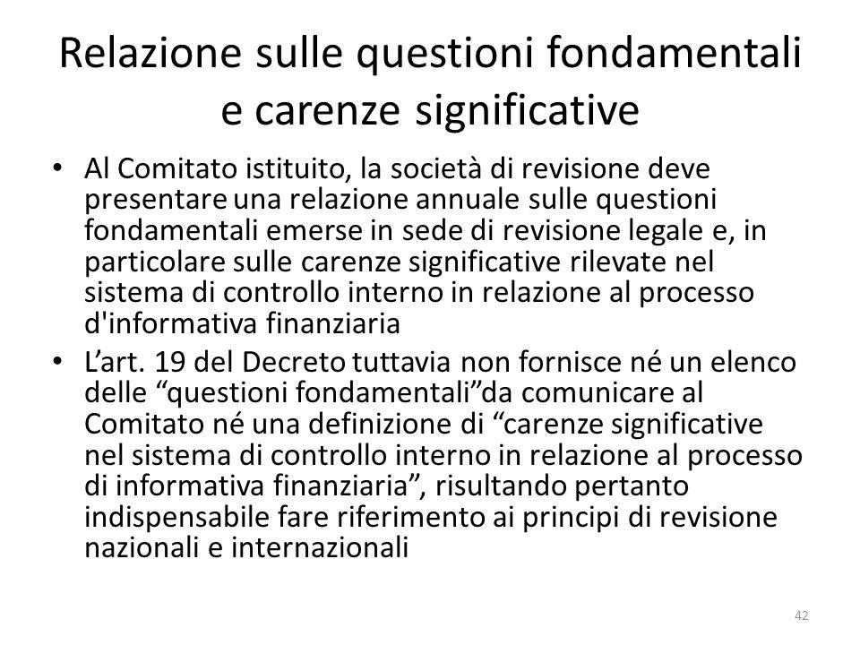 Relazione sulle questioni fondamentali e carenze significative Al Comitato istituito, la società di revisione deve presentare una relazione annuale su