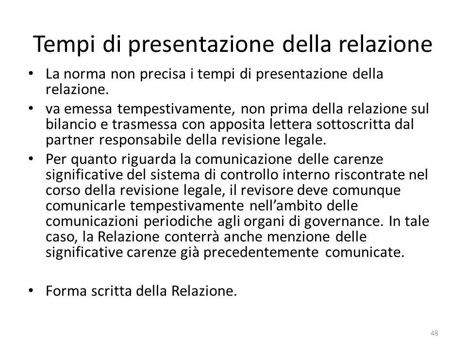 Tempi di presentazione della relazione La norma non precisa i tempi di presentazione della relazione. va emessa tempestivamente, non prima della relaz