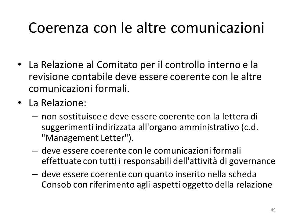 Coerenza con le altre comunicazioni La Relazione al Comitato per il controllo interno e la revisione contabile deve essere coerente con le altre comun