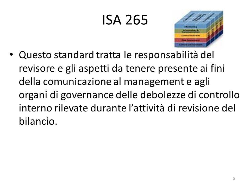 ISA 265 Questo standard tratta le responsabilità del revisore e gli aspetti da tenere presente ai fini della comunicazione al management e agli organi